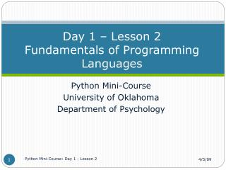 Day 1 � Lesson 2 Fundamentals of Programming Languages