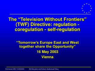"The ""Television Without Frontiers"" (TWF) Directive: regulation - coregulation - self-regulation"