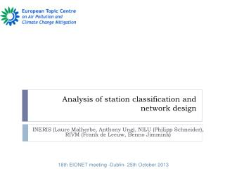 Analysis of station classification and network design