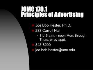 JOMC 170.1  Principles of Advertising