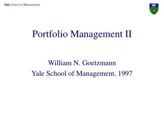 Portfolio Management II