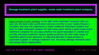 waste water treatment company delhi, sewage treatment plant