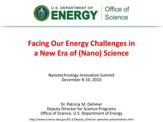 Facing Our Energy Challenges in  a New Era of ( Nano ) Science