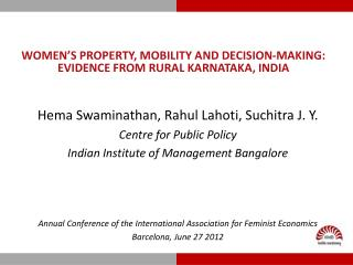 WOMEN's PROPERTY, Mobility and DECISION-MAKING: EVIDENCE FROM rural Karnataka, India