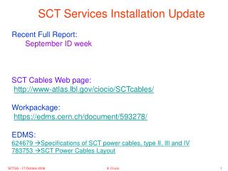 SCT Services Installation Update