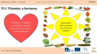 33.1 Vitaminy a hormony