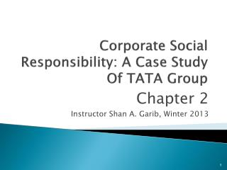 Corporate Social Responsibility: A Case Study Of TATA Group