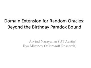 Domain Extension for Random Oracles: Beyond the Birthday Paradox Bound