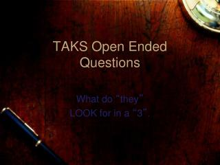 TAKS Open Ended Questions