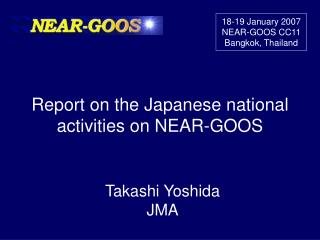 Report  on the Japanese national activities on NEAR-GOOS