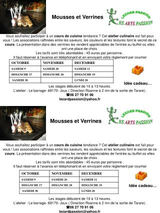 Mousses et Verrines