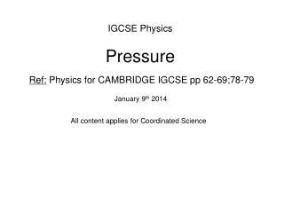 IGCSE Physics Pressure