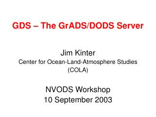 GDS – The GrADS/DODS Server