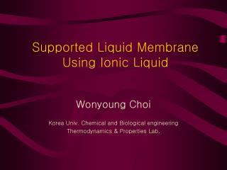 Supported Liquid Membrane Using Ionic Liquid