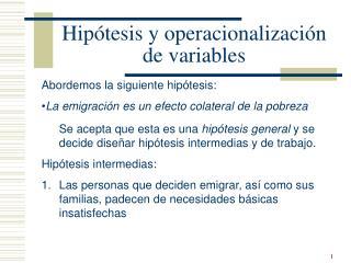 Hip tesis y operacionalizaci n de variables