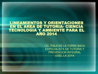 LINEAMIENTOS Y ORIENTACIONES EN EL AREA DE TUTORIA- CIENCIA TECNOLOGIA Y AMBIENTE PARA EL AÑO 2014