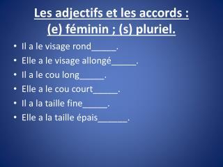Les adjectifs et les accords:  (e) féminin; (s) pluriel.
