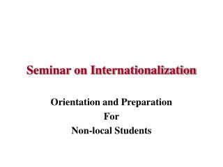 Seminar on Internationalization