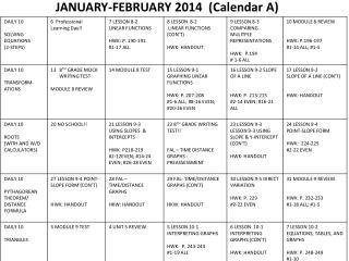 JANUARY-FEBRUARY 2014  (Calendar A)