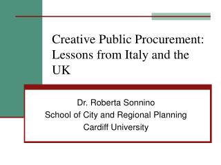 Creative Public Procurement: Lessons from Italy and the UK