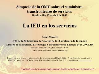 La IED en los servicios Anne Miroux