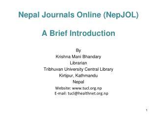 Nepal Journals Online (NepJOL)