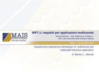 WP7.1: requisiti per applicazioni multicanale