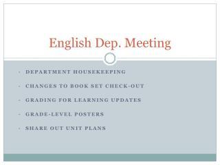 English Dep. Meeting