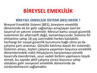 BİREYSEL EMEKLİLİK