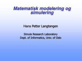 Matematisk modelering og simulering