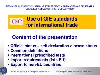 Use of OIE standards for international trade