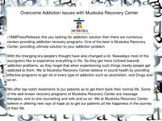 Overcome Addiction Issues with Muskoka Recovery Center