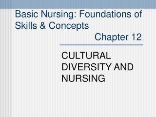 Basic Nursing: Foundations of  Skills  Concepts                               Chapter 12