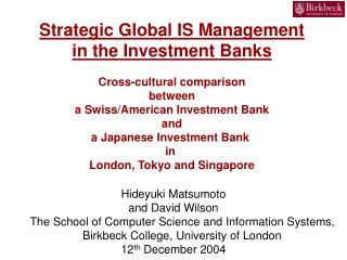 Strategic Global IS Management
