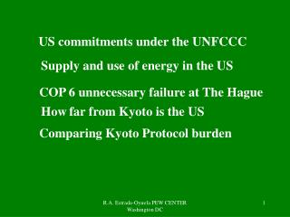 US commitments under the UNFCCC