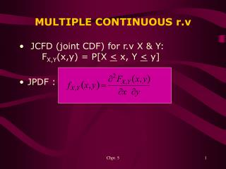 MULTIPLE CONTINUOUS r.v