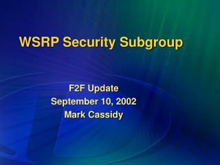 WSRP Security Subgroup