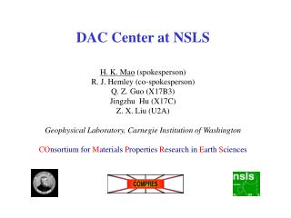 DAC Center at NSLS H. K. Mao  (spokesperson) R. J. Hemley (co-spokesperson) Q. Z. Guo (X17B3)