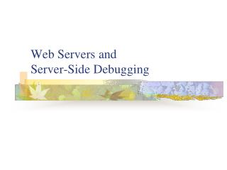 Web Servers and Server-Side Debugging