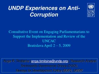 UNDP Experiences on Anti-Corruption