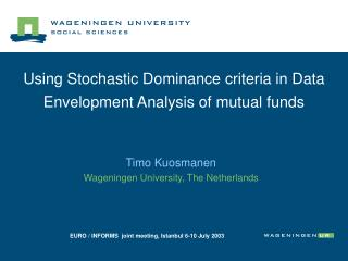 Using Stochastic Dominance criteria in Data Envelopment Analysis of mutual funds