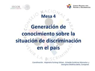 El Programa Nacional para la Igualdad y No Discriminación (PRONAIND)  2014-2018