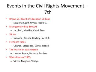 Events in the Civil Rights Movement—7th