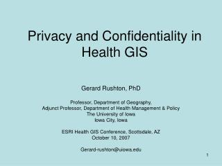 Privacy and Confidentiality in Health GIS