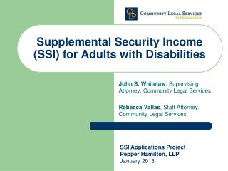 Supplemental Security Income (SSI) for Adults with Disabilities