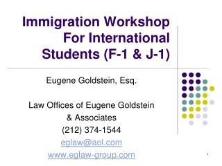 Immigration Workshop For International Students F-1  J-1
