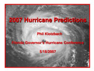 2007 Hurricane Predictions