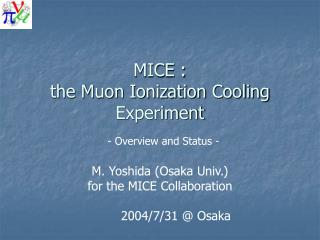 MICE : the Muon Ionization Cooling Experiment