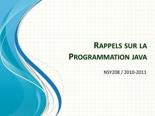 Rappels sur la Programmation java