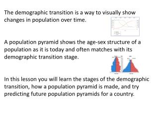 The demographic transition is a way to visually show changes in population over time.